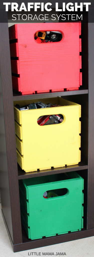 Create a DIY Traffic Light Storage System for your kids! This is a great DIY for toy car storage. #RevUpF8 #ad