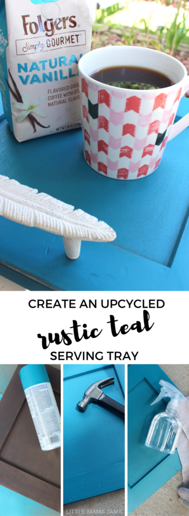 Create an upcycled rustic teal serving tray from an old cabinet front with this DIY! #ad