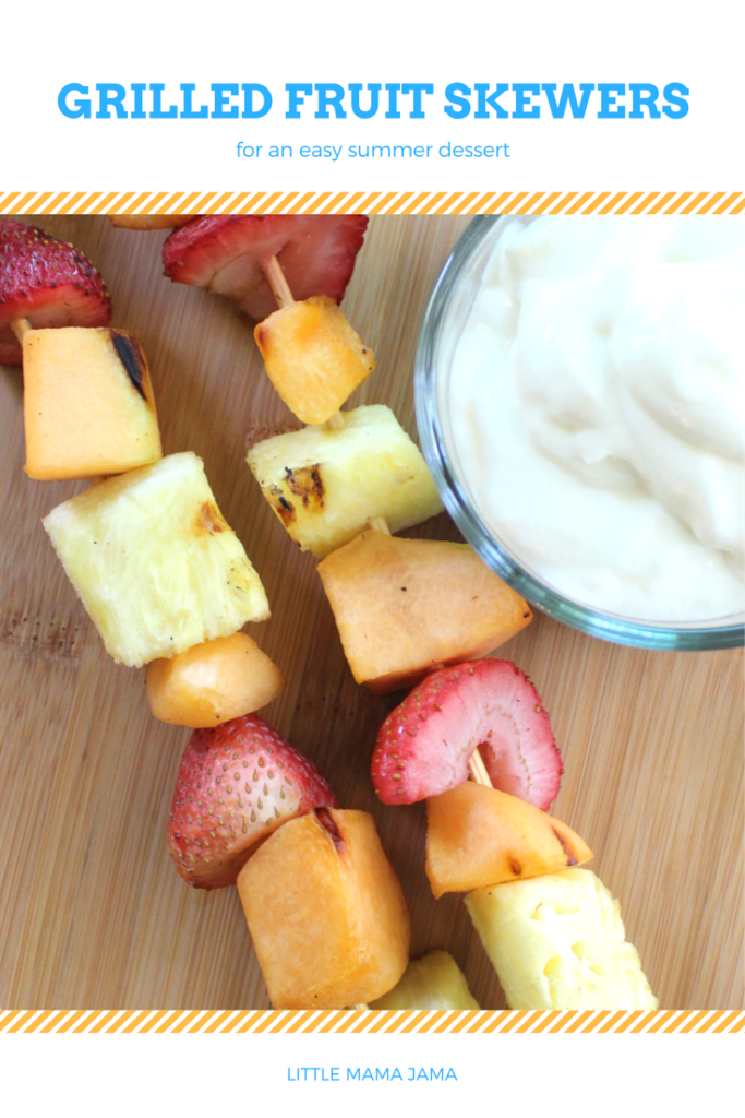 Spend less time in the kitchen and more time outdoors this summer! Make grilled fruit skewers for an easy summer dessert. #ad