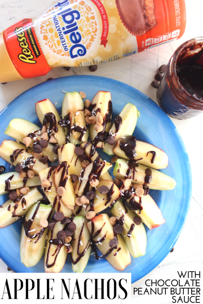 Apple Nachos with Easy, Two-Ingredient Chocolate Peanut Butter Sauce