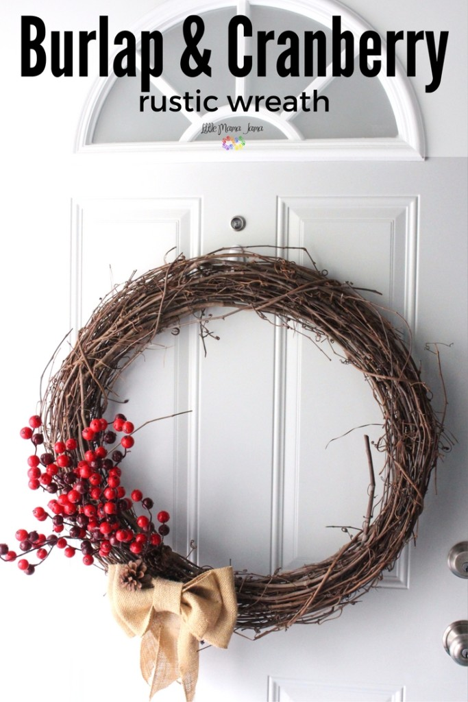 Rustic Burlap & Cranberry Wreath