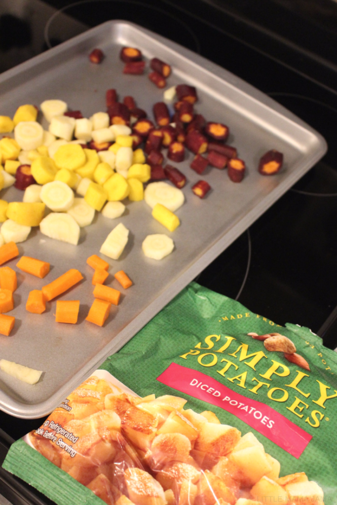 [ad] Turmeric Roasted Root Vegetables made with Simply Potatoes is a quick-prep side dish! #SimplyPotatoes