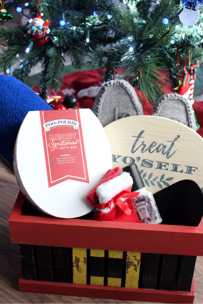 Welcome your guests with this treat yo'self bathroom guest basket! Create this rustic wood Santa crate by following the DIY tutorial, and use the free printable to recreate your own wood transfer Treat Yo'self sign. #MerrySpritzmas #ad