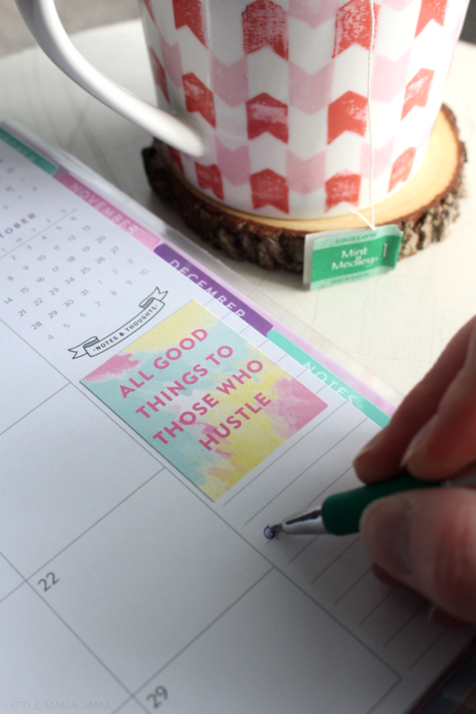 My morning starts with intention - tea, positivity, and goal setting. Use a free printable to create your own rustic wood transfer coasters with positive mantras and enjoy your tea with a side of positivity! #BigelowTea #TeaProudly #Ad