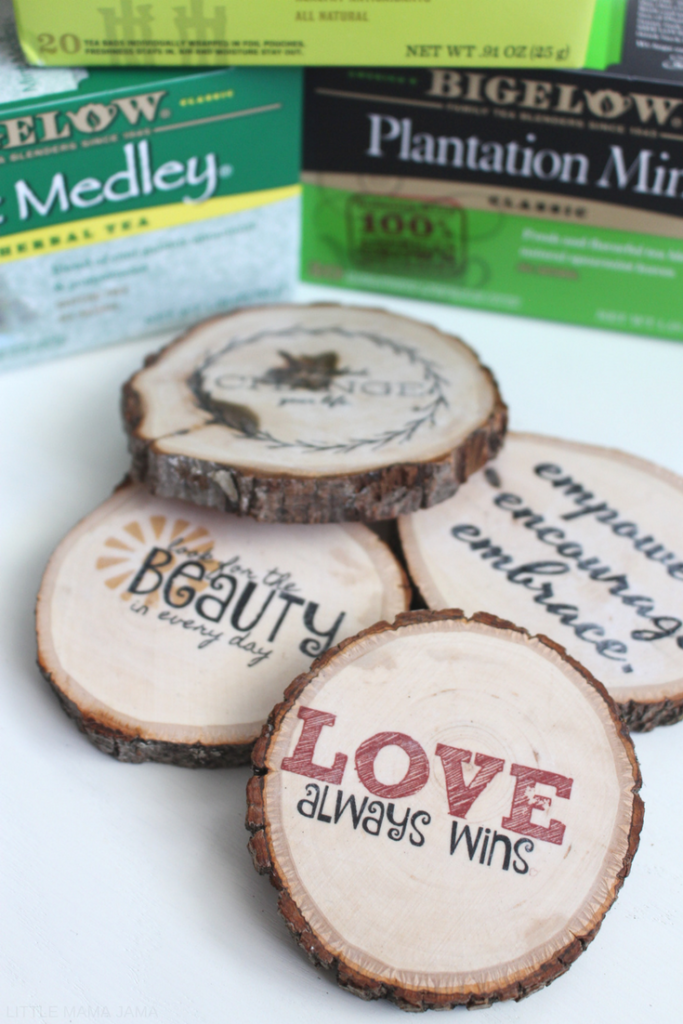 Create your own personalized rustic wood transfer coasters with a free printable of positive mantras. These wood coasters fit perfectly with rustic decor and help you enjoy your morning tea with a positive note. #BigelowTea #TeaProudly #Ad