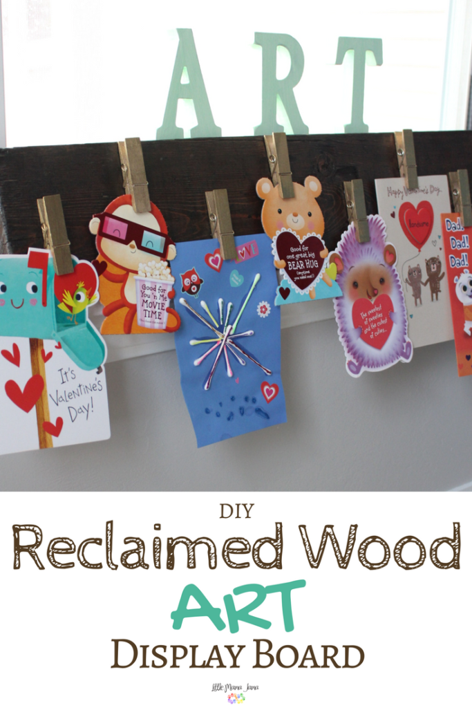 Use reclaimed wood to create a customized art display! This DIY Reclaimed Wood Art Display Board is perfect for greeting cards, kids artwork, notes and more. #SendingMyLove #ad