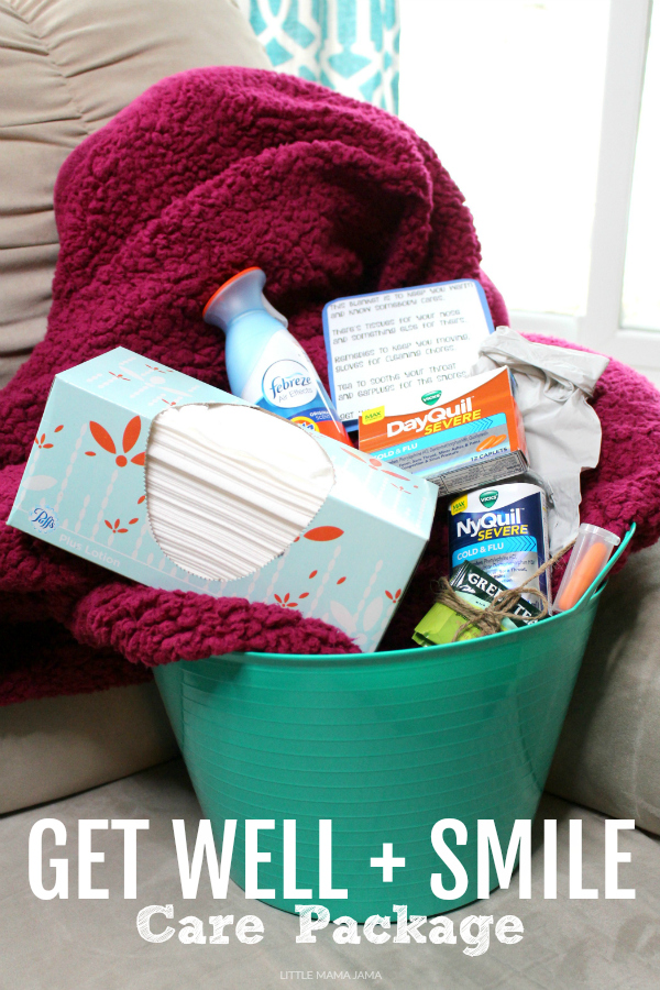 Share the gift of laughter with this Get Well and Smile Care Package for a loved one during cold and flu season! #ad