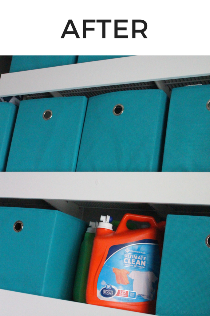 Want to cover your wire shelving to upgrade your laundry room? Upgrade wire shelving to look more like built-ins with this DIY Laundry Room Makeover for under $100! #MembersMarkDetergent #ad