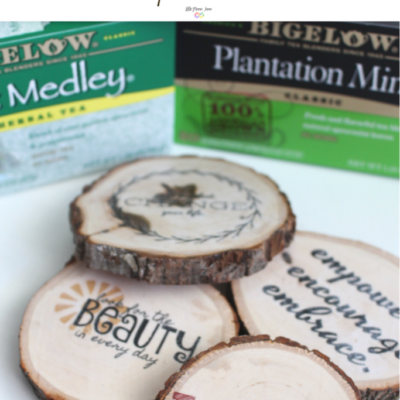 Rustic Wood Transfer Coasters with Positive Mantras